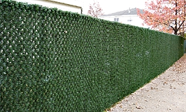 Chain Link Fence with Grass-Look Slats